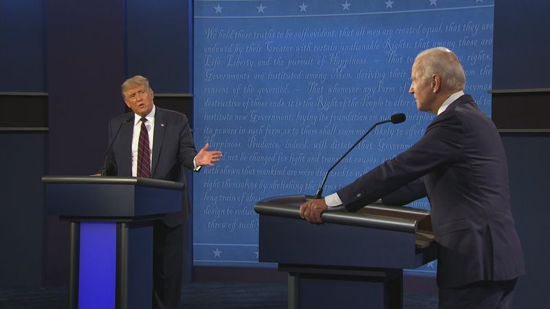 President Trump and Joe Biden at the podium during the debate.