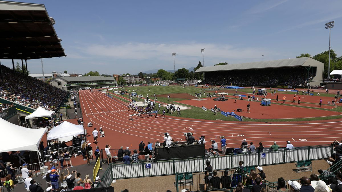 FILE--In this May 30, 2015, file photo, Hayward Field is seen during the Prefontaine Classic...