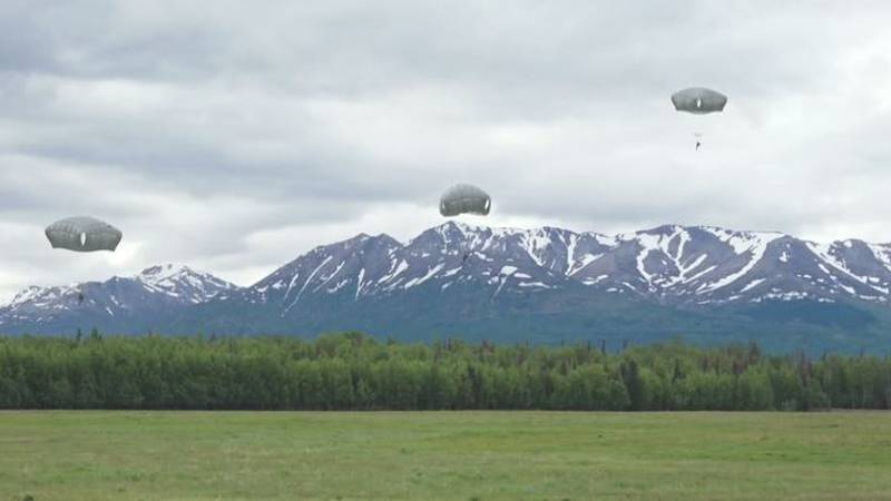 Paratroopers conduct a training exercise at Joint Base Elmendorf Richardson on June 8, 2021.