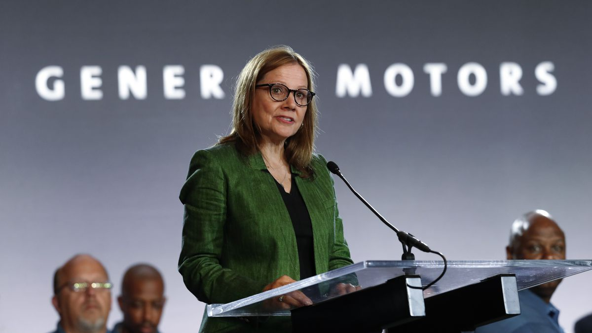 FILE - In this July 16, 2019 file photo, General Motors Chief Executive Officer Mary Barra...