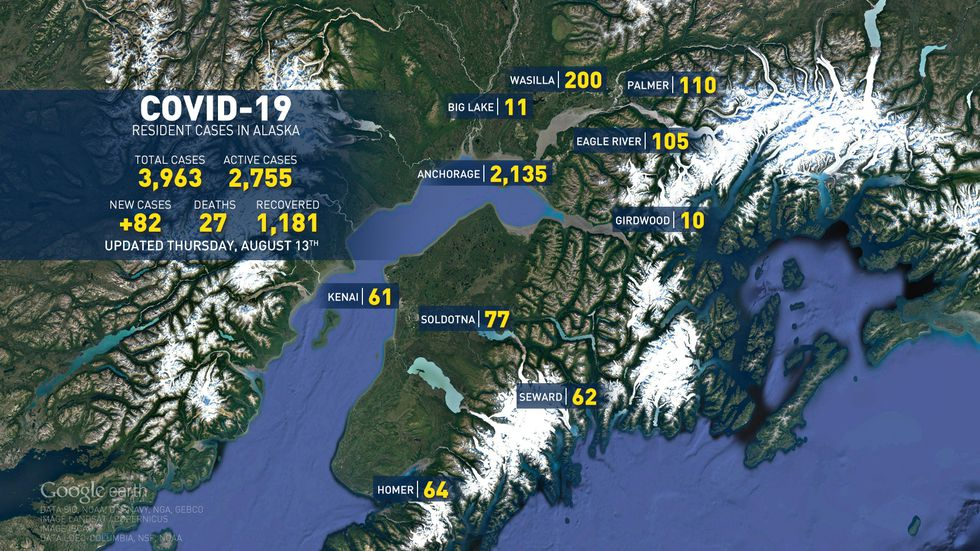 This is the numbers for COVID-19 cases in Alaska for August 13, 2020.