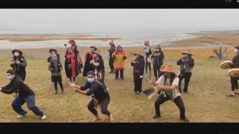Woosh.ji.een, a Tlingit dance group from Juneau, performs at a virtual celebration for...