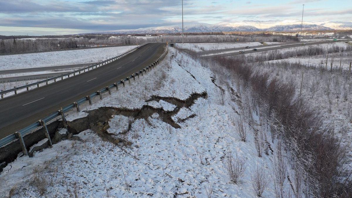 The Glenn/Parks Interchange after the November 30 7.1 magnitude quake that shook Southcentral...