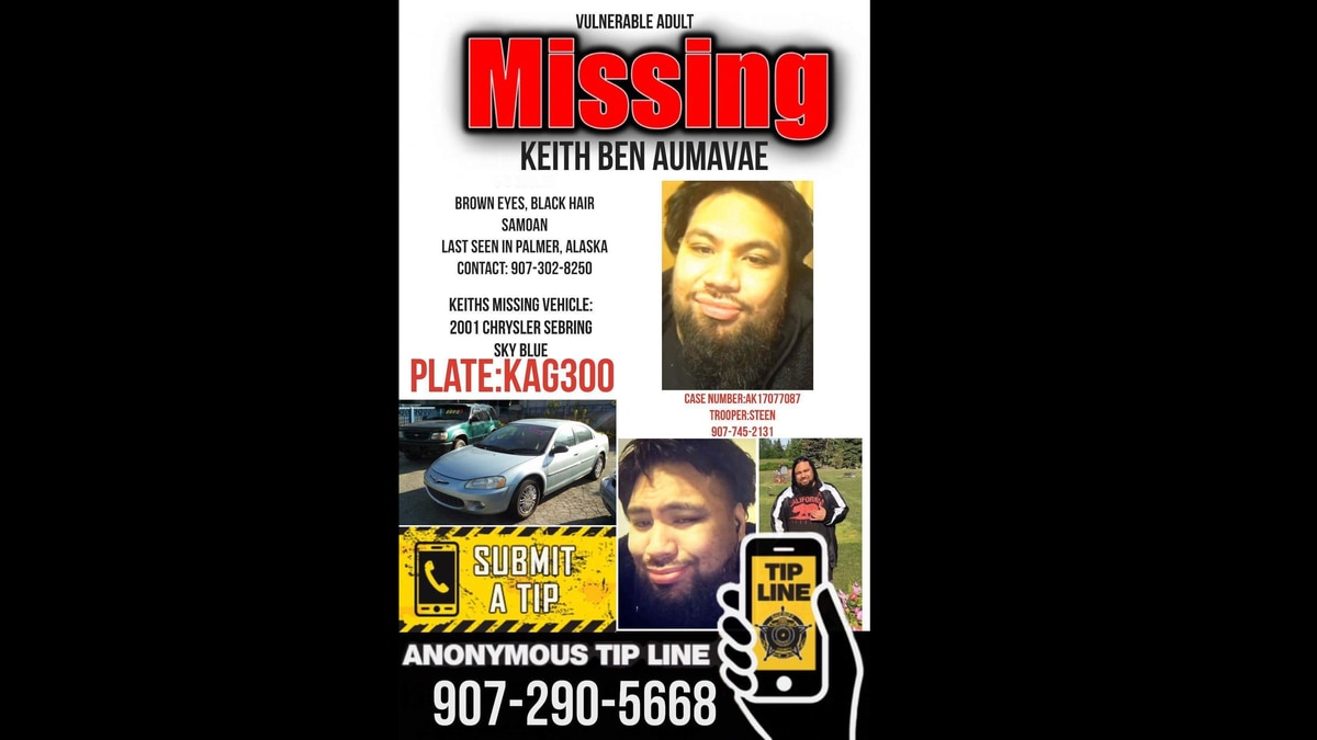 Missing persons flier for Keith Ben Aumavae. (Photo courtesy Henry Laulu).