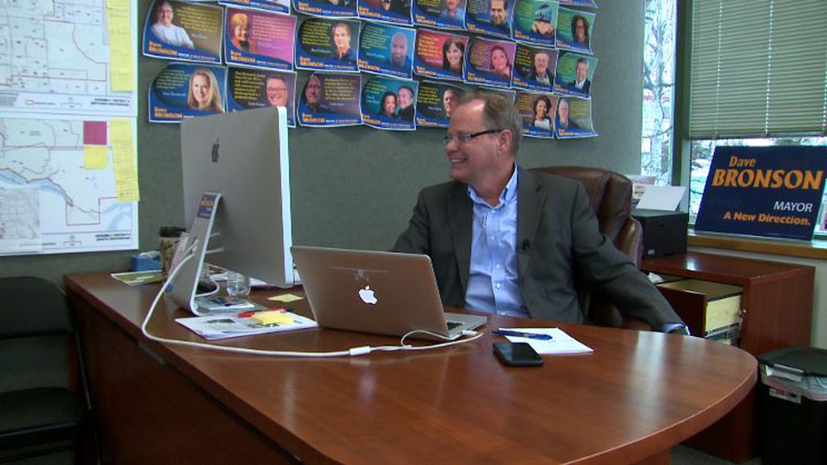 Then-candidate Dave Bronson at his campaign headquarters, ahead of Anchorage's 2021 mayoral...