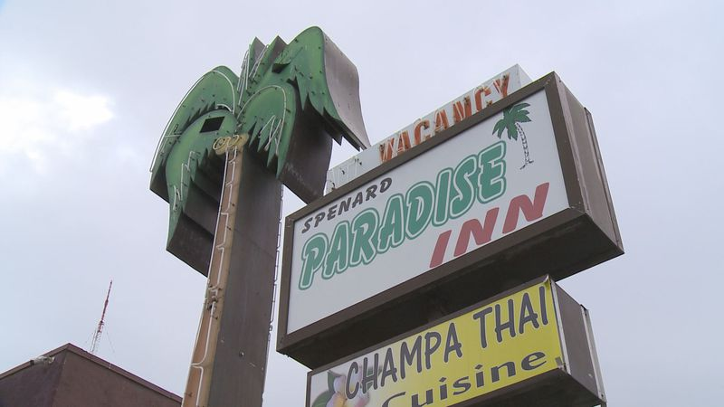 The palm tree at the Paradise Inn is shown before the hotel was acquired by the federal...